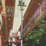 Spa town(温泉街) – Free image Vintage postcard