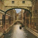 Venetian canal(ヴェネツィアの運河) – Free image Vintage postcard