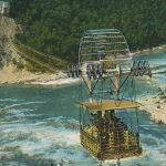 Cable car on Niagara river(ケーブルカー) – Free image Vintage postcard