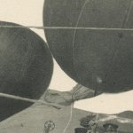 Flying balloon(気球)  – Free image Vintage postcard